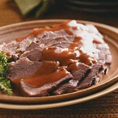 Slow Cooker Sauerbraten Recipe~ Normally it takes 5 days to marinate the roast (you have to turn it every day) and that takes some planning. But this iis one of my favorite German recipes (Im mostly of German descent). I grew up eating German food and learned from my Gramma how to make all the old country dishes. My husband hates German food *thunks head on table* Doh!!!!!