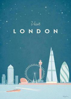 London als Leinwandbild von Henry Rivers | JUNIQE