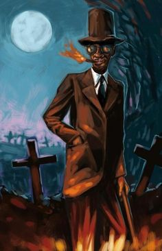 Baron Cimetière- Haitian myth: a spirit of the dead. He is the guardian of the cemetery, protecting it's Graves. He is the doorman between the world of the living and the afterlife. He keeps the dead in and the living out.