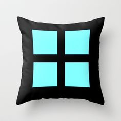 Window Blue Throw Pillow by Colorful Art - $20.00
