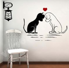 For my groom room LOVE Cat and Dog decal sticker wall logo by victorialogodesign