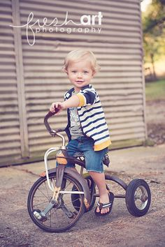summer outfit for Baby J...crop shorts, a cardigan, AND a tricycle? I can't handle the cuteness...