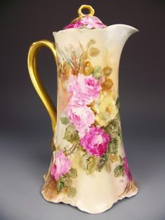 Hand Painted Limoges Chocolate Pot