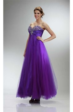 Classic A Line Strapless Long Purple Tulle Beaded Prom Dress