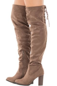e62578050a2 Lime Lush Boutique - Tan Faux Suede Knee High Boots with Tie Back Detail