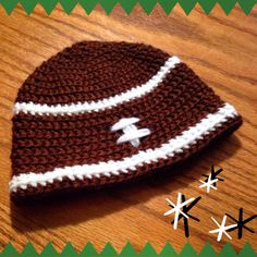 Keep your little quarterback warm with this football hat! Can be made in team colors by special request.
