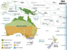 este mapa explica como es el clima de oceania