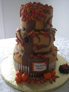 I wish super fancy cakes were gross and pointless. Fall Birthday Cakes, Themed Birthday Cakes, Birthday Ideas, Unique Cakes, Creative Cakes, Fall Party Themes, Party Ideas, Gorgeous Cakes, Amazing Cakes