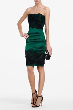 Winter Wedding Guest Look. BCBG Emerald Green Strapless Dress with Lace Accents