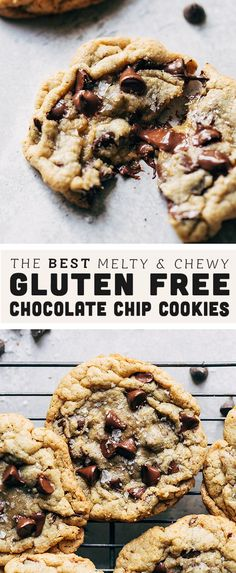 You would never guess that these chocolate chip cookies are GLUTEN FREE! They're gooey and chewy on the inside, crispy on the outside, and loaded with chocolate chips. It's easily the BEST gluten free Gluten Free Deserts, Gluten Free Sweets, Gluten Free Cooking, Dairy Free Recipes, Cooking Recipes, Healthy Recipes, Gluten Free Recipes For Dinner, Dinner Recipes, Gluten Free Chocolate Chip Cookie Recipe