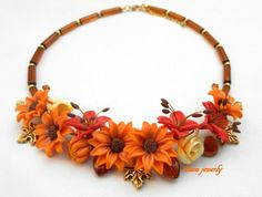 #Fall necklace  Flower necklace  Sunflower  by insoujewelry on Etsy