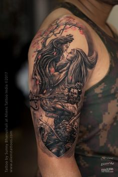 Amazing Shiva Tattoo designs for men by Aliens Tattoo. Shiva Tattoo symbols rage anger & favourite in religious categories. Hindu Tattoos, God Tattoos, Religious Tattoos, Symbolic Tattoos, Body Art Tattoos, Sleeve Tattoos, Tattoos For Guys, Tattoo Art, Warrior Tattoos