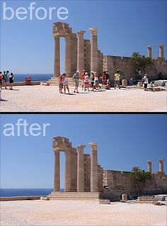 """Delete tourists from your travel photos 1: Set your camera on a tripod. 2: Take a picture about every 10 seconds until you have about 15 shots 3: Open all the images in Photoshop by going to File > Scripts > Statistics. Choose """"median"""" and select the files you took. 4: Bam! Photoshop finds what is different in the photos and simply removes it! Since the people moved around, it fills the area where someone was standing with part of another photo where no one was there."""