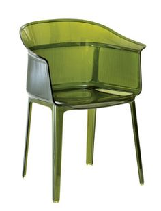 Designed by Ronan and Erwan Bouroullec, the olive green Papyrus chair combines simplicity and refinement from Kartell. Made of transparent polycarbonate, the chair is a remake of the archetypal antique rush chair
