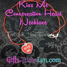 "Now available at  Kiss Me Conversation Heart Necklace for #ValentinesDay for $10. Red leather cord with silver plated lobster clasp closure. Necklace is 22"" long. Shop link in profile! .. .. #jewelry #handmadejewelry #crafty #DIY #gifts #handmade #shophandmade #handmadewithlove #imadethis #psimadethis #makersgonnamake #favehandmade #makersvillage #thehandmadeparade #shopsmall #handmadeacademy"