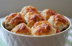 Something new to try for dinner. Looks Yummy! Cheesy Chicken Meatballs by olgasflavorfactory : Moist and flavorful with golden crispy melted cheese on top. Prep them ahead to store in the refrigerator to bake when you're ready. I Love Food, Good Food, Yummy Food, Great Recipes, Favorite Recipes, Chicken Meatballs, Cheese Meatballs, Parmesan Meatballs, Cheesy Chicken