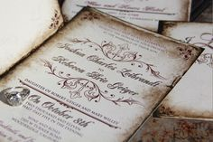 Vintage Parchment Wedding invitations. Classic Vintage wedding invitations. Antique parchment wedding invitations by mybigdaydesigns on Etsy https://www.etsy.com/listing/59279973/vintage-parchment-wedding-invitations