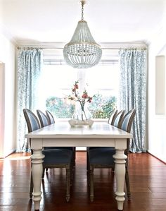 Blue and white dining room with new linen drapes and blue translucent glass jar from Homegoods. http://www.kristywicks.com