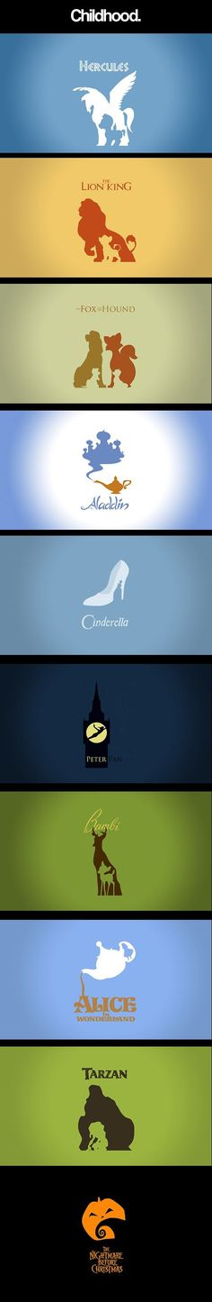 Minimalist posters of Disney Movies - some/most of these were great books and fairytales