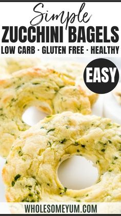 Mar 2020 - Zucchini Bagels (Low Carb, Gluten-Free) - These chewy zucchini bagels are low carb, gluten-free, nut-free, and made with only six ingredients. Best Zucchini Recipes, Roasted Vegetable Recipes, Real Food Recipes, Great Recipes, Keto Recipes, Cooking Recipes, Healthy Recipes, Favorite Recipes, Kitchen Recipes