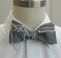 Men's bow tie in grey with white owls. $27.00, via Etsy.