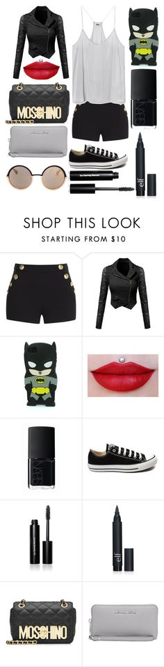 """black"" by poinapples on Polyvore featuring Boutique Moschino, NARS Cosmetics, Converse, Bobbi Brown Cosmetics, Moschino, Michael Kors, Marc by Marc Jacobs, women's clothing, women and female"