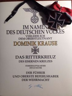 Knight's Cross - Official Certificate
