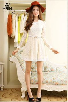 Autumn Fashion Sweet Lace Slim A-Line Dress