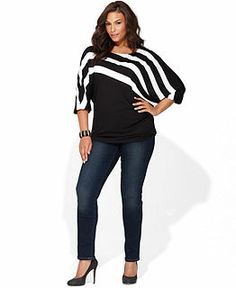 Because you know how I love Black & White. And this geometric stripe! - INC Plus Size Clothing - INC International Concepts - Macy's