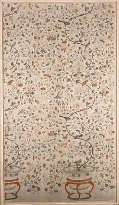 Panel; Chinese for export, silk, 18th century