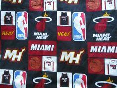 "Miami Heat Cotton Fabric 1 Yard (44"" x 36"" ) Mask Material NBA  2012 Not Washed #EugeneTextiles Nba Heat, Miami Heat, Vintage Fabrics, Cotton Fabric, Yard, Holiday Decor, Ebay, Cotton Textile, Garten"