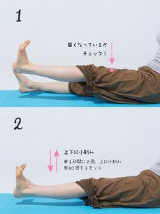 ①片足を少し上に上げます。膝上を触ってみて固くなっていれば、筋肉が反応している証拠です。  ③その位置で上下に小刻みに動かします。  1秒に2回上に小刻みに上げましょう。片足ずつ、30回を3セット行います。
