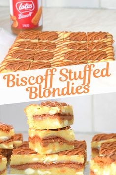 These gooey chewy blondies are full of creamy white chocolate and stuffed with Lotus Biscoff spread and crushed Biscoff for a crunchy surprise! With Biscoff biscuits on top and a gorgeous Biscoff spread drizzle, these really are stuffed full of Biscoff joy! These Biscoff blondie bars make an amazing dessert or sweet snack, perfect for an afternoon treat. Check out the step-by-step easy recipe for these Biscoff blondie bars at sweetmouthjoy.com.
