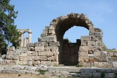 Ruined Shop, Corinth Agora (by Mark Cartwright) -- Part of the northwest shops of the agora of Roman Corinth with the archaic temple dedicated to Apollo in the left background. Ancient Ruins, Ancient Greece, Ancient History, Athens Acropolis, History Encyclopedia, Roman Gods, Online Bible Study, Roman City, Roman Sculpture