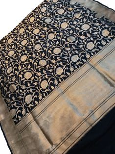 Black Handloom Banarasi Katan Silk Saree Banarasi Sarees, Silk Sarees, Katan Saree, Indian Fabric, Sarees Online, Stuff To Buy, Black, Style, Black People