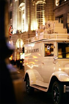 In the lead up to Christmas 2012, Burberry launched their festive van circulating around central London filled with gifts to spread festive cheer. Customers were able to follow the van's journey throughout iconic London locations on the brand's social media platforms.