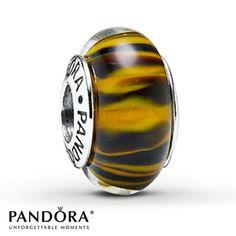 Pandora Bengal Tiger Glass Charm Sterling Silver