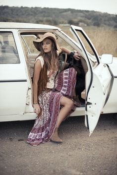 Long gypsy style dress, boho chic floppy hat, modern hippie masa necklaces and stacked bangle bracelets. For the BEST Bohemian fashion & jewelry trends for 2014 FOLLOW http://www.pinterest.com