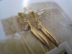 Feather earrings Gold feather earrings Gold by TresJoliJewelry, ₪70.00
