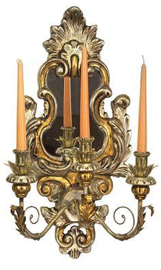 Wandkerzenleuchter Holz Gold -Silber Dekoration von Freude am Wohnen - Wohnen mit Freude auf DaWanda.com