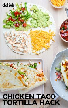 Another truly genius Tik Tok recipe! This simple trick will create a wrap that gives you a perfect bite all throughout. Chicken Tortilla Wraps, Chicken Wrap Recipes, Healthy Tortilla, Cooking Recipes, Healthy Recipes, Breakfast Lunch Dinner, Vegan, Mexican Food Recipes, Delish