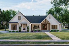 Enjoy one-level living in this New American house plan. The exterior board… Enjoy one-level living in this New American house plan. The exterior. New House Plans, Dream House Plans, One Level House Plans, Dream Houses, Metal House Plans, Pole Barn House Plans, Modern Farmhouse Exterior, Farmhouse House Plans, Farmhouse Homes