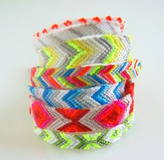 diy neon friendship bracelets with geometric chevron and diamond patterns