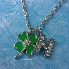 One Direction inspired charm necklace // N for Niall Horan ($13) ❤ liked on Polyvore featuring jewelry, necklaces, one direction, accessories, pulseras, leaf charms, long rhinestone necklace, clasp charms, clover leaf necklace and rhinestone charms
