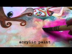 mixed media & beeswax painting by WYANNE---This is an adorable video!
