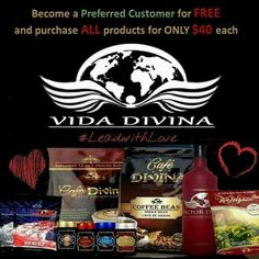 Get on board! Vida Divina is a Global Health Based Company looking to improve nutrition, health and welfare. Our Goal is to deliver high quality products that can be consumed at any stage of life and become a contributor to economic development. Become a preferred customer for FREE and purchase ALL products for ONLY $40 each - Limited Time Offer! Inbox me for more details or join for free. www.healthtrends.vidadivina.com