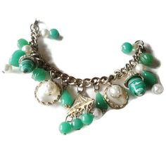 Vintage Charm Bracelet Lucite Pearl And Green Art Glass Beads by EraAntiquesandFinds on Etsy
