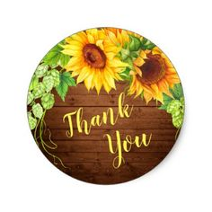 Wood Sunflowers Hop Chic Rustic Thank You Classic Round Sticker - shower gifts diy customize creative Thank You Pictures, Thank You Images, Wallpaper Backgrounds, Colorful Backgrounds, Wallpapers, Logo Online Shop, Indoor Tropical Plants, Happy Birthday Flower, Jw Gifts
