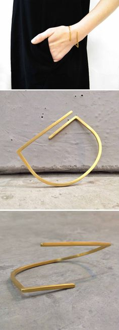 Lines Bracelet in Gold, by BAARA Jewelry. A minimalist, geometric bracelet, perfect for breezy, summer outfits.- Tap the link now to see our super collection of accessories made just for you! Minimal Jewelry, Modern Jewelry, Fine Jewelry, Custom Jewelry, Rose Gold Jewelry, Gold Jewellery, Jewellery Making, Geometric Jewelry, Adjustable Bracelet