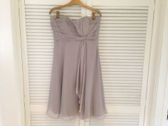 Elaine? (Straps are optional, it works without them too) Coast Symphony Short Dress Grey Size 12 with straps. Occasion/Bridesmaid
